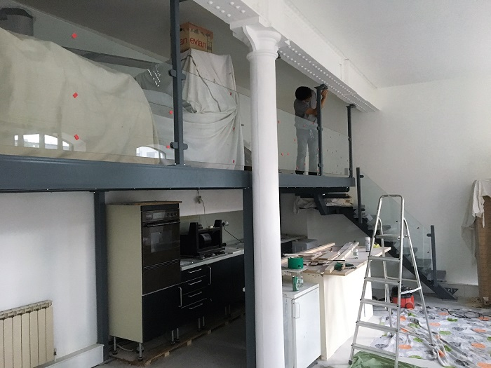 kitchen mezzanine floor, spiral stairs